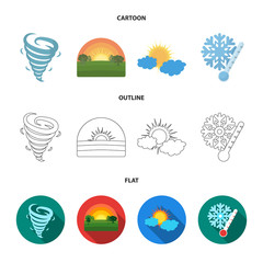 Tornado, sunrise, cloudiness, snow and frost. The weather set collection icons in cartoon,outline,flat style vector symbol stock illustration web.