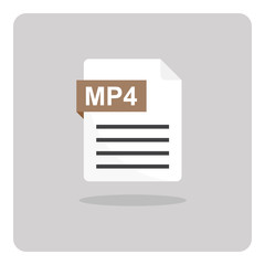 Vector design of flat icon, MP4 movie, video file format on isolated background.