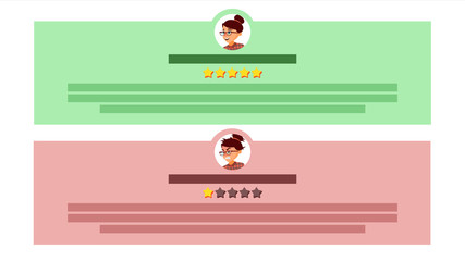 Customer Feedback Vector. User Avatars. Review Rating Speech Bubble. Testimonials Messages. Store Quality Work. Flat Cartoon Illustration