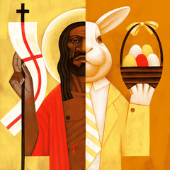Illustration of halved Christ and Easter bunny