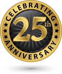 Celebrating 25th anniversary gold label, vector illustration