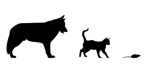 silhouette of a cat and a dog and mouse icon