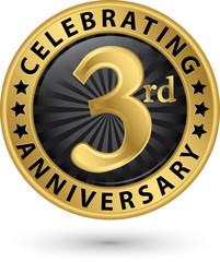 Celebrating 3rd anniversary gold label, vector illustration