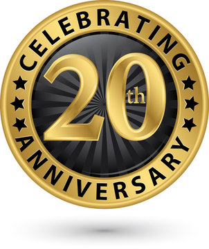 Celebrating 20th years anniversary gold label, vector illustration