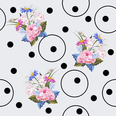 Seamless pattern with beautiful garden flowers, dots and circles. Flower background for textile, cover, wallpaper, gift packaging, printing.Romantic design for calico, silk.