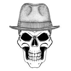 Skull wearing vintage hat. Gangster, criminal illustration. Vintage headdress with skull. T-shirt print, design for patch, logo, badge, emblem.