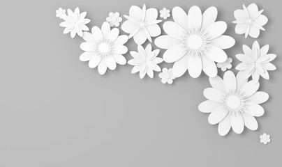 White paper flowers decor over gray, 3d