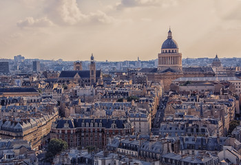 Fototapete - Paris roofs viewed from Notre-Dame cathedral in Paris