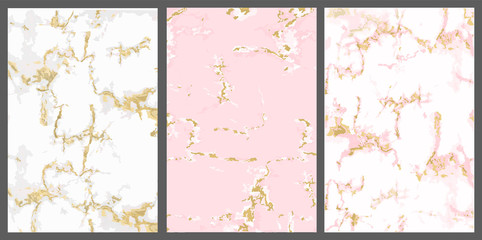 Vector marble with pink gold background. White rose with golden crack. Backdrop for invite card. Trendy cover invitation: girl baby shower, princess party, luxury wedding. Cute textured wallpaper