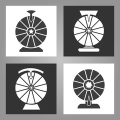 Spinning wheel icons. Lottery money game symbols, monochrome wheels of fortune signs set, vector illustration