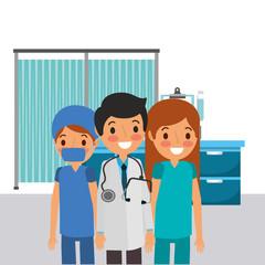 people team medical professional doctor male nurse  vector illustration