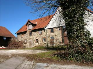 Leerstehendes altes Bauernhaus mit Fassade aus Bruchstein vor blauem Himmel bei Sonnenschein in Heidenoldendorf bei Detmold in Ostwestfalen-Lippe