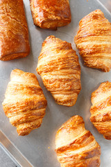 Top view of a Pan of Croissants