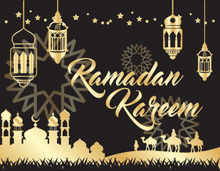 beautiful ramadan kareem background with gold color on black background