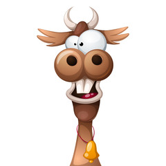 Funny, cute, crazy cartoon characters cow Vector eps 10