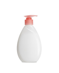 Plastic Bottle pomp with cosmetic liquid, soap or shampoo, gel