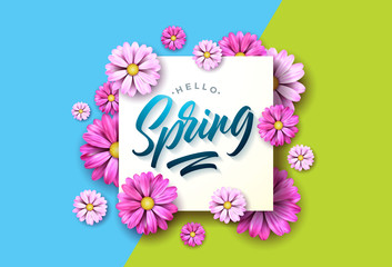 Hello spring nature illustration with beautiful colorful flower on green and blue background. Vector floral design template with typography letter.