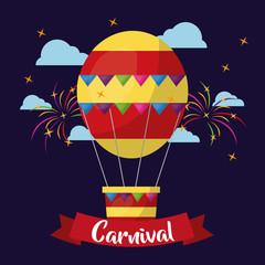 carnival air balloon flying at night fireworks stars vector illustration