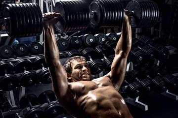 man bodybuilder in gym