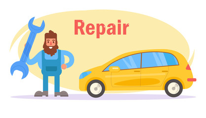 Car repair. Vector. Cartoon. Isolated art