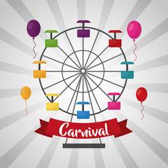 carnival ferris wheel balloons funfair festival vector illustration