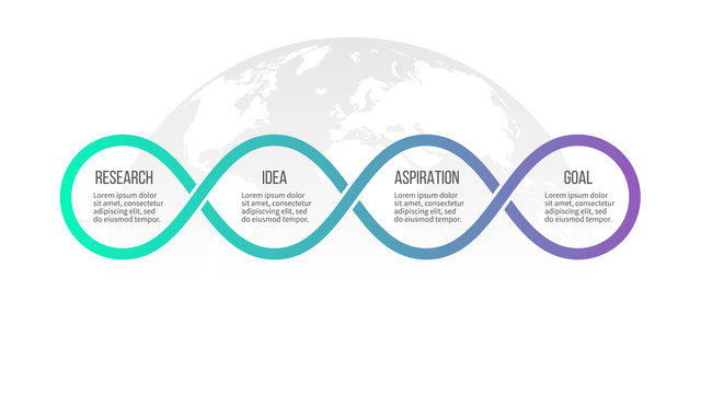 Business infographics. Timeline with 4 steps, options, loops. Vector template.