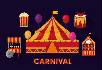 carnival fair festival and circus tent music food vector illustration