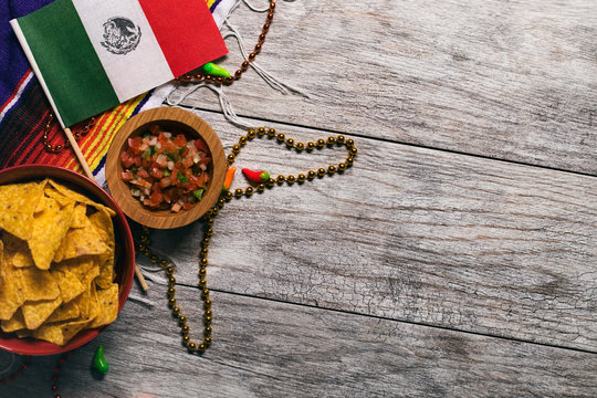 Fiesta: Mexican Flag With Chips And Salsa