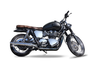 Classic black motorcycle side view isolated on white Wall mural