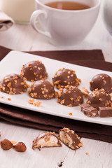 Chocolate truffles with caramel cream filling.