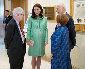 Britain's Catherine, Duchess of Cambridge is greeted at the Royal Society of Medicine, in London