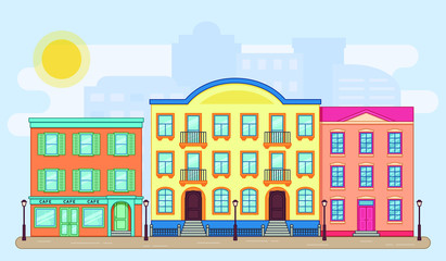 City street with buildings. Vector. Houses in flat style. Cartoon home cityscape background. Residential house with apartments. Architecture design. Linear illustration.