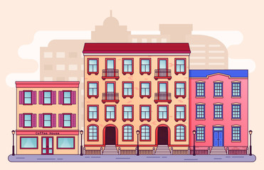 City street with houses. Vector. Home buildings, cafe in flat style. Cartoon cityscape background. Residential house with apartments. Architecture design.  Linear illustration.