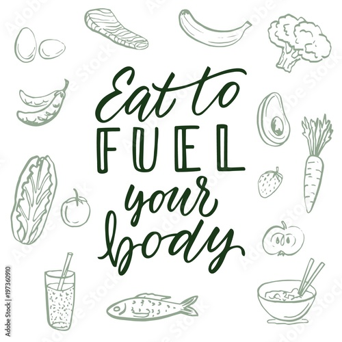 Calligraphic Quote And Food Drawings On Background