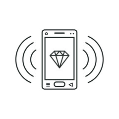 Mobile phone icon with a diamond