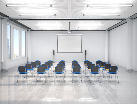 Lecture hall interior with projector. 3d illustration