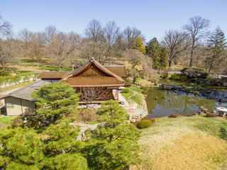Aerial images of the Shofuso Teahouse