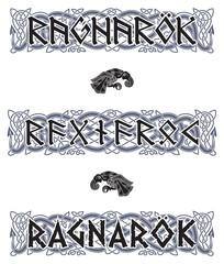 Scandinavian pattern and runic inscription. Ragnarok