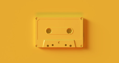 Yellow  Cassette Tape 3d illustration Wall mural