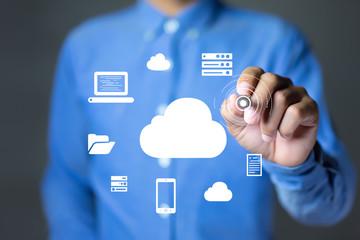 Businessman holding a pen drawing a cloud computing diagram. cloud computing concept.
