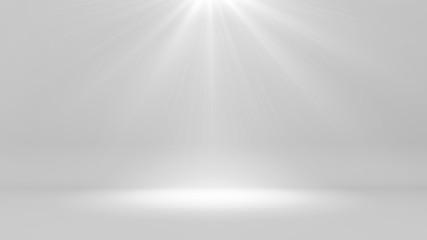 Futuristic white empty room and light shining , 3d render interior design, mock up illustration