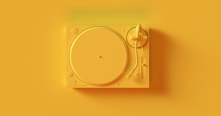 Yellow  Record Player Turntable 3d illustration Wall mural
