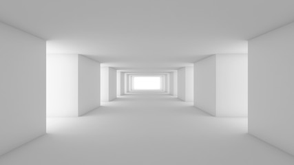 Futuristic white empty room, 3d render interior design, mock up illustration