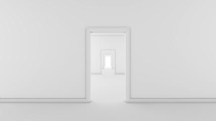 Futuristic white empty room with doors and corridor, 3d render interior design, mock up illustration