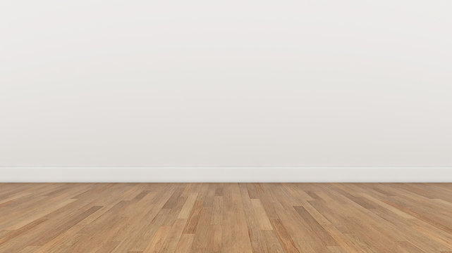 Empty Room White wall and wood  brown floor, 3d render Illustration Background Texture