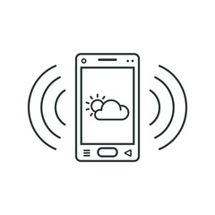 Mobile phone icon with weather sign