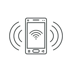 Mobile phone icon with communication level sign