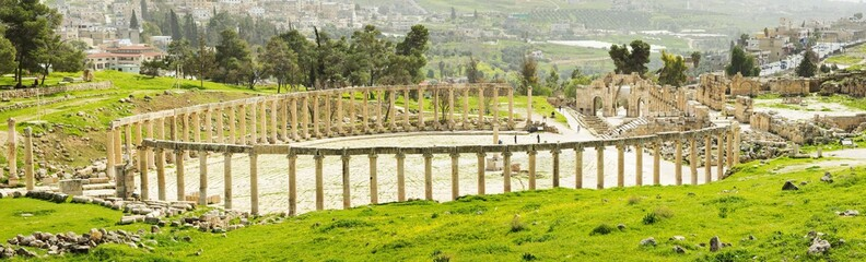 panorama of ruins of antique theater in Jordan