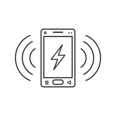 Mobile phone icon with a sign of lightning