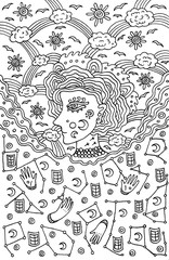 Surreal girl goddess of night and day sky. Tribal fairy tale woman art. Coloring page for adults. Doodle vector illustration